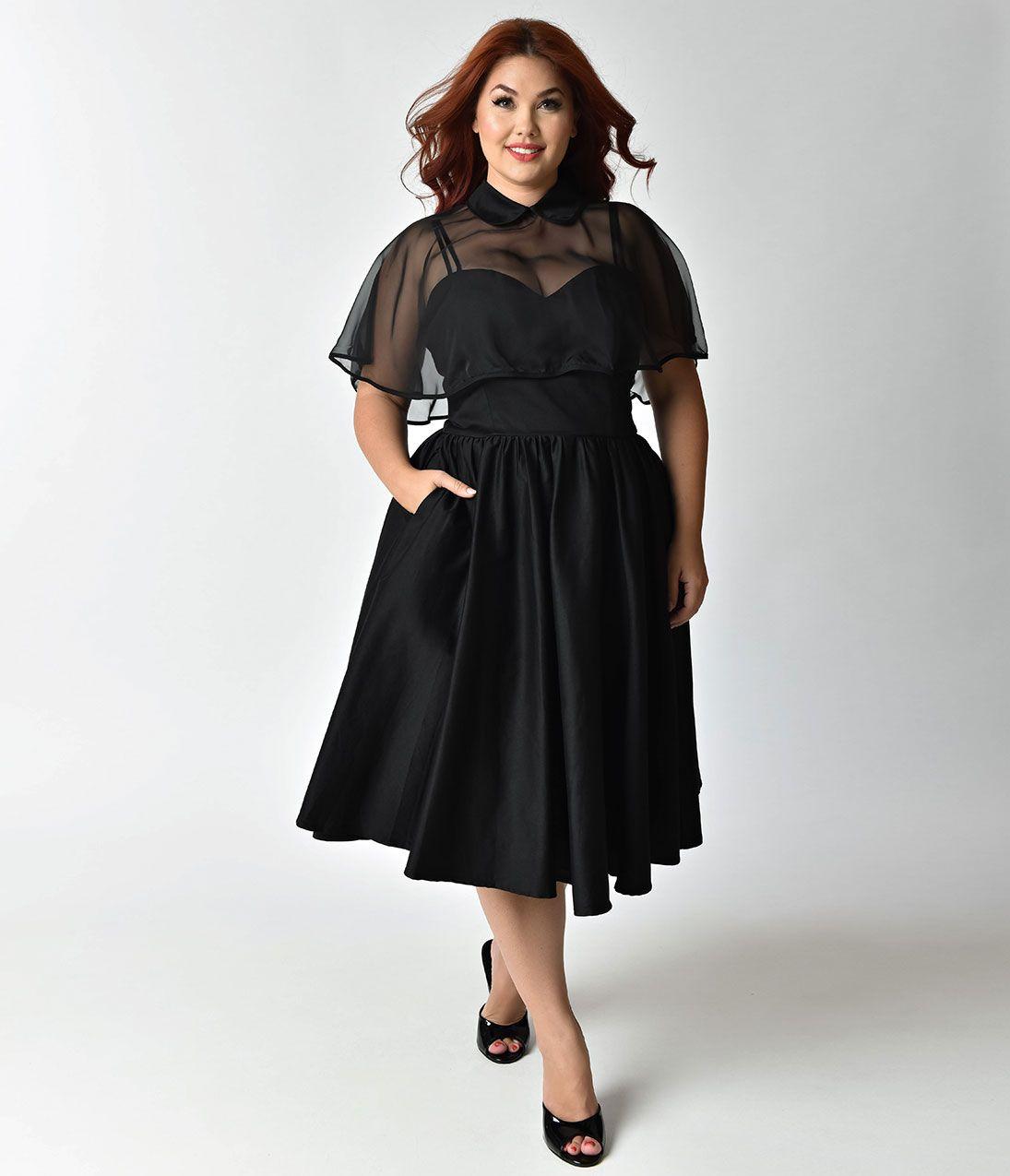 Unique Vintage 1940s Style Black Brushed Cotton Luna Swing Dress Mesh Capelet Black Sophisticated Dress Flattering Dresses Plus Size Fashion [ 1275 x 1095 Pixel ]