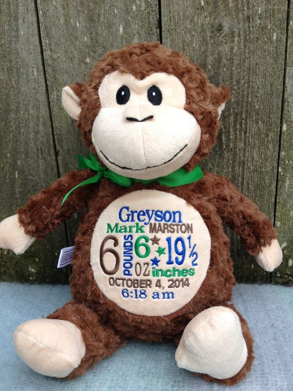 c62f551c4c7 Personalized Baby Gift Monogrammed Monkey by WorldClassEmbroidery Birth  Announcement Brown Monkey Baby Boy Baby Girl