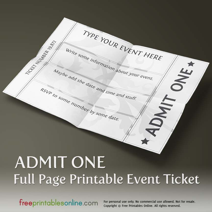 Printable Full Page Ticket Template Ticket template, Template and