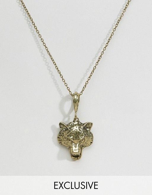 Reclaimed Vintage   Reclaimed Vintage Wolf Head Pendant Necklace In Gold