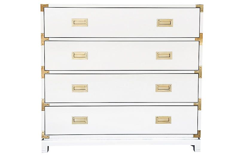 Carlyle 4 Drawer Campaign Dresser White Ave Home Campaign