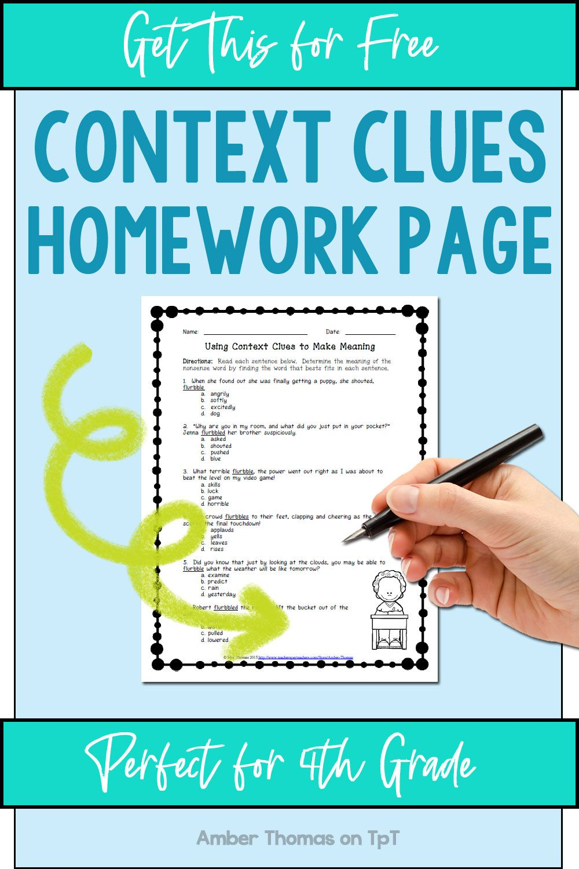 Free Context Clues Worksheet   Context clues worksheets [ 1500 x 1000 Pixel ]