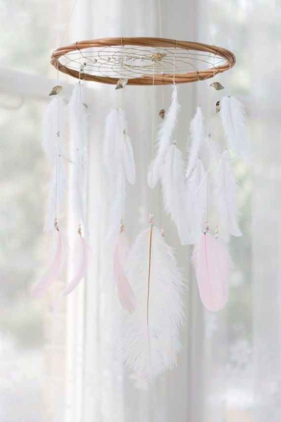Where To Hang Your Dream Catcher Pure white Large Dreamcatcher Mobile with Pink Feathers Hang your 20