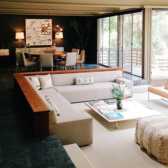 Midcentury masterpiece the strimling house by ray kappe beautify home sunken living room for Houses with sunken living rooms