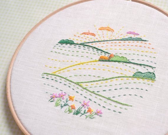 Hand embroidery patterns • PDF • summer landscape embroidery art • green valley • NaiveNeedle #embroiderypatternsbeginner