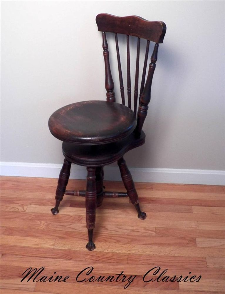 19th C. Antique CLAW FOOT HIGH BACK ADJUSTABLE PIANO ORGAN STOOL CHAIR  Merriam - 19th C. Antique CLAW FOOT HIGH BACK ADJUSTABLE PIANO ORGAN STOOL