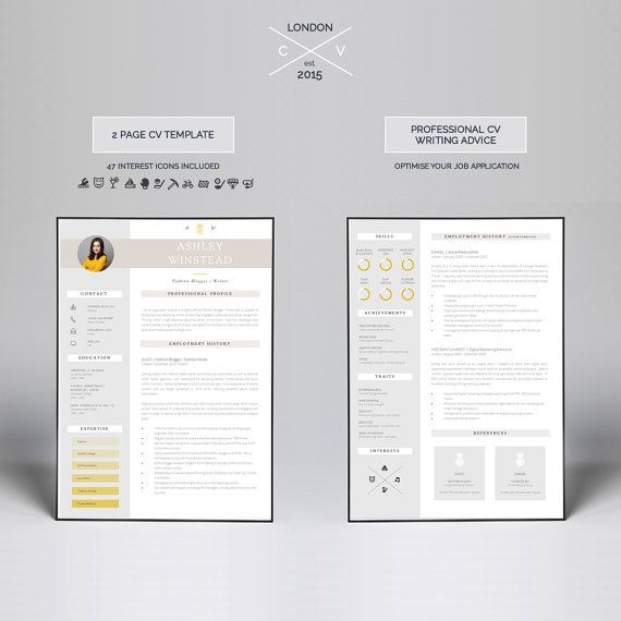 Two Page Resume Template Modern Cv Template For Word Etsy Creative Resume Templates Creative Resume Cv Template