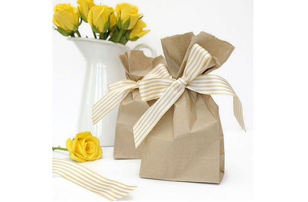 Yellow Paper Party Bag For Wedding Favour Present Gift /& Tissue