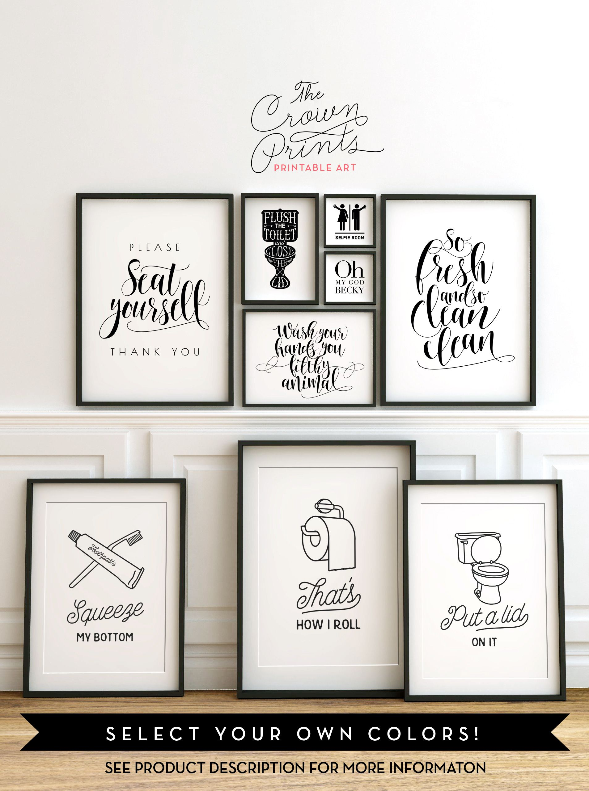 Printable bathroom wall art from the crown prints on etsy Cool wall signs