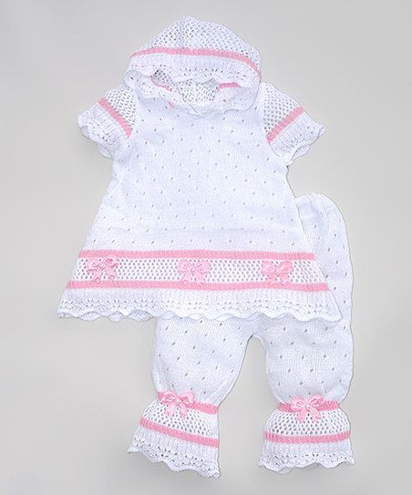 Pink and Blue Knitwear White & PinkCrochet Top & Pants - Infant | zulily
