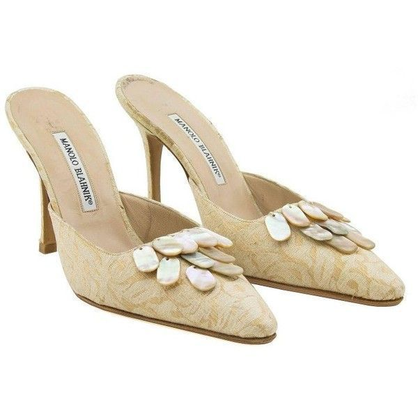 5f705b21484 Preowned 1990s Manolo Blanhik High Heel Mules With Mother Or Pearl... (€