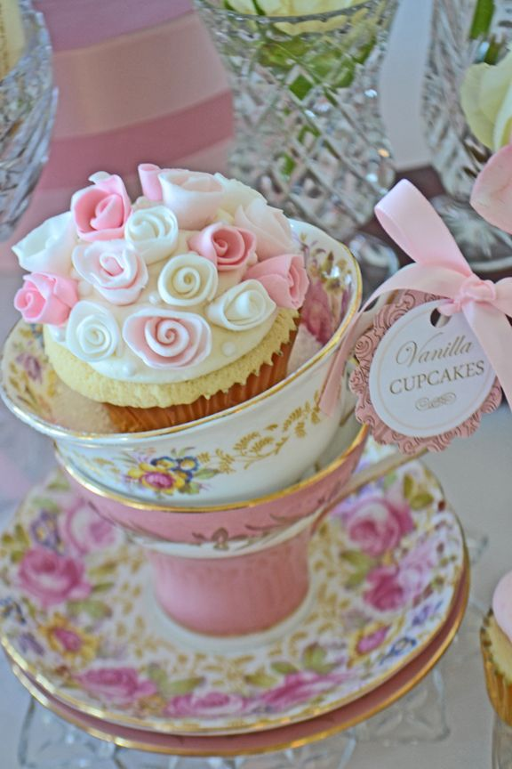 Pretty Floral China And A Cupcake To Match By Bake Sale Toronto