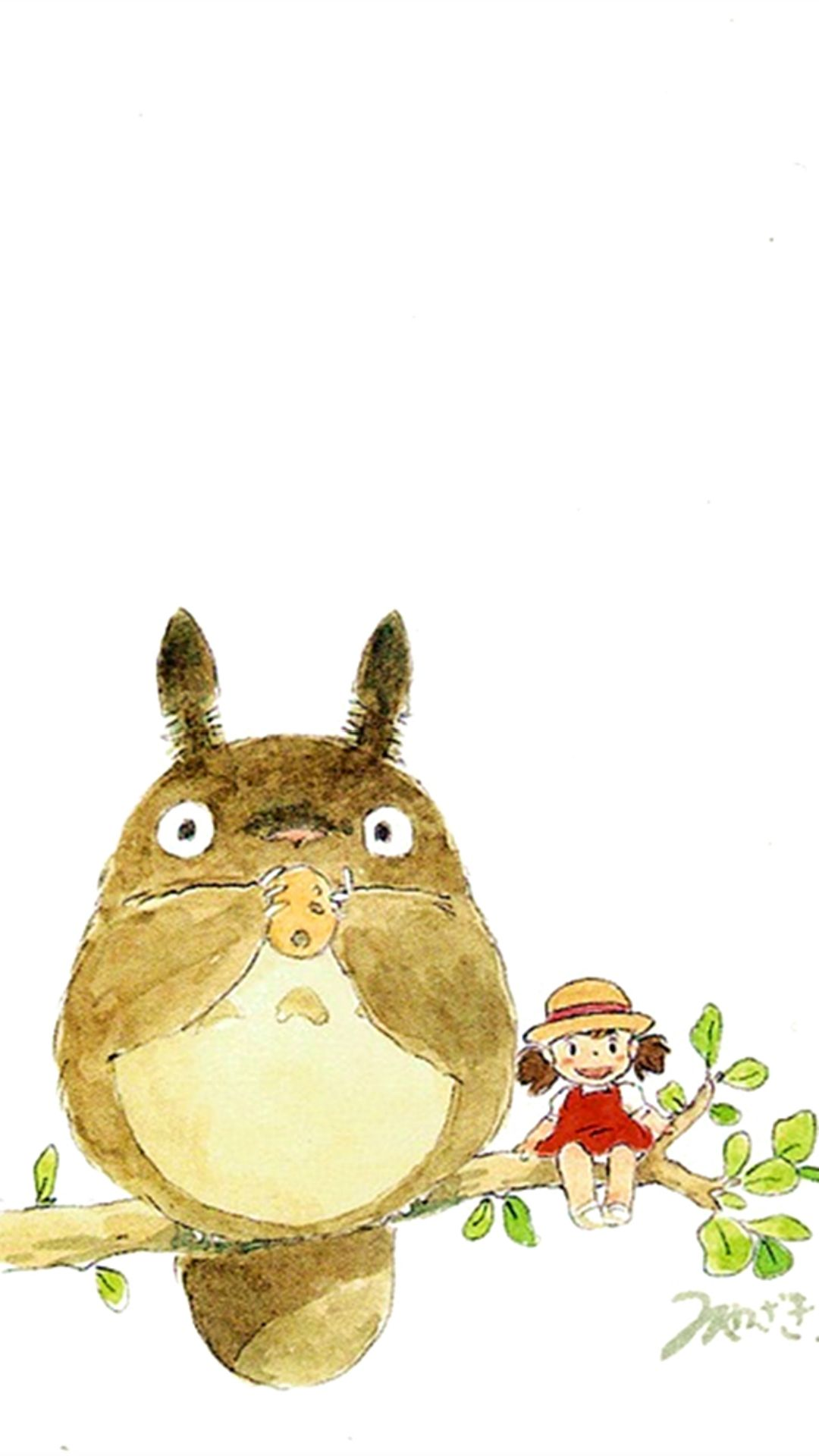 My Neighbor Totoro Cute Girl Branch Art Drawn IPhone 6 Plus Wallpaper