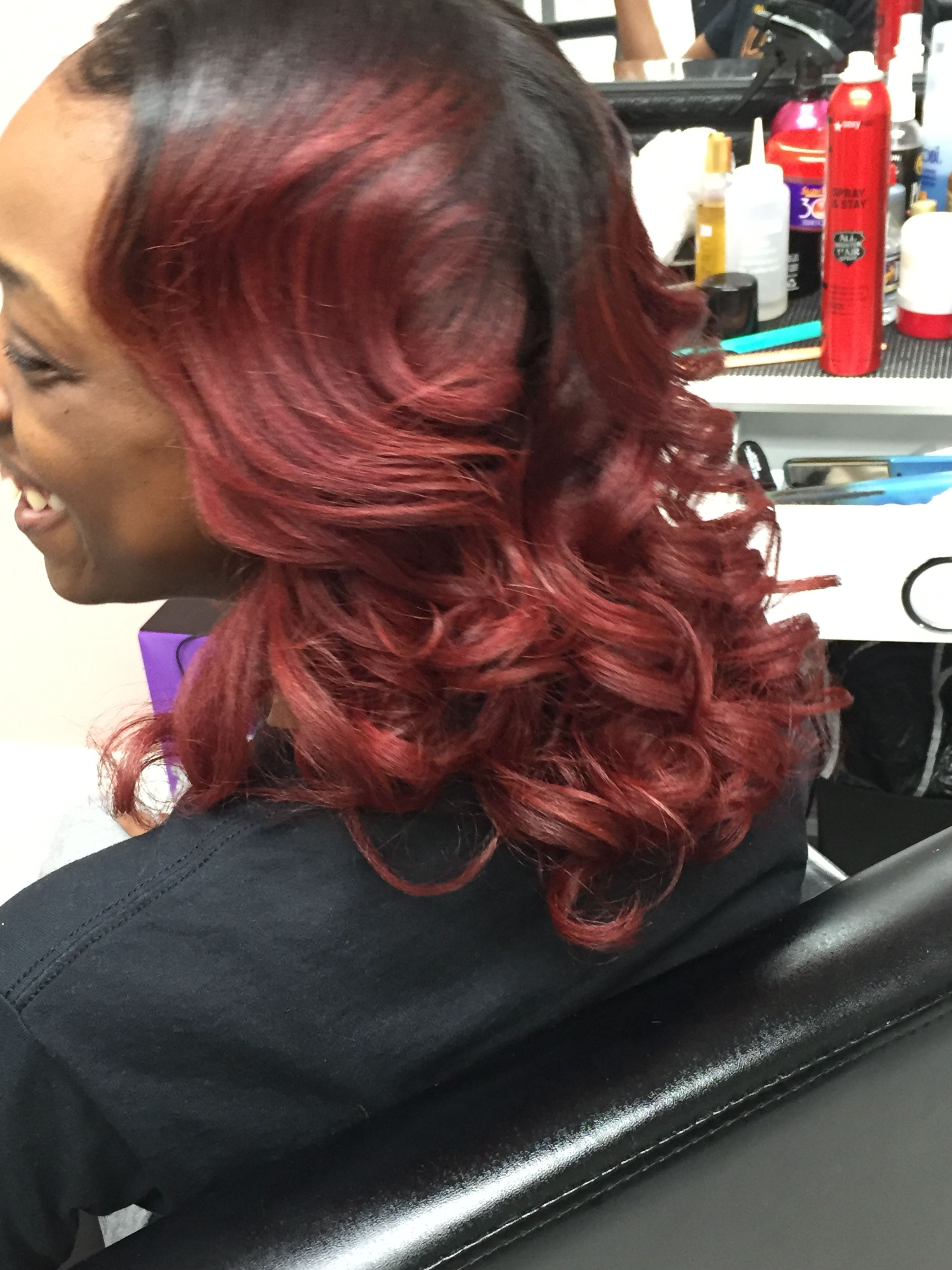 Wine Hair Color And Flat Iron Curls Done By Tiffany Moore Tiffany