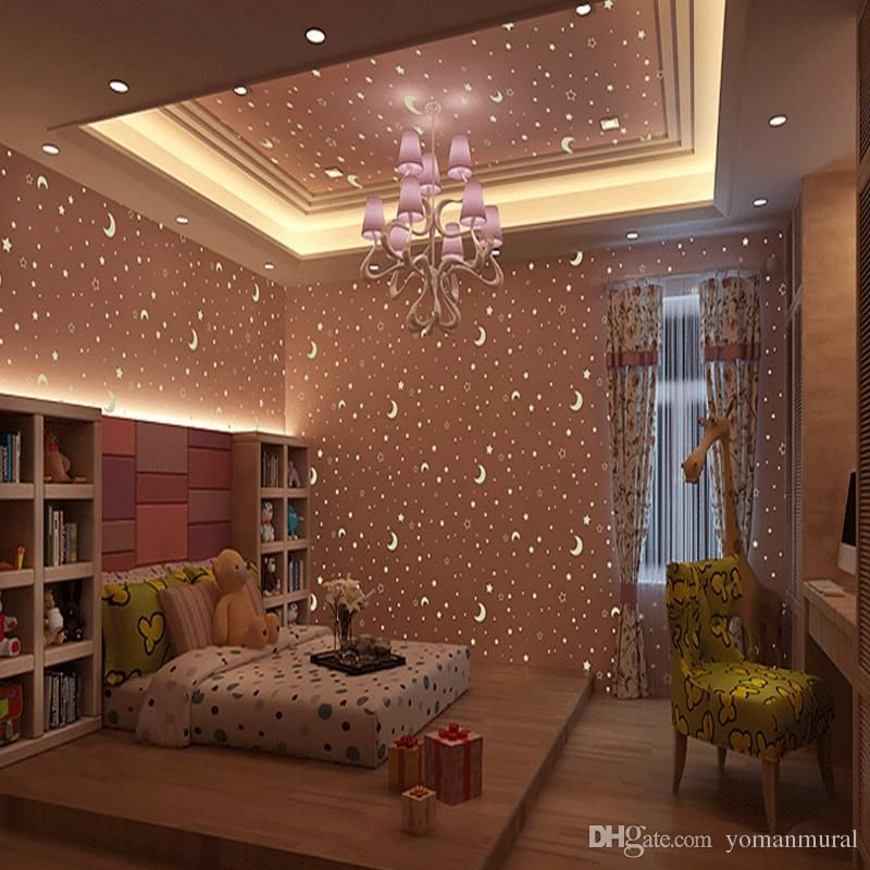 3d Luminous Wallpapers Roll Stars And The Moon Boys And Girls Children S Room Bedroom Ceiling Fluorescent Bedroom Ceiling Girl Bedroom Designs Wallpaper Decor
