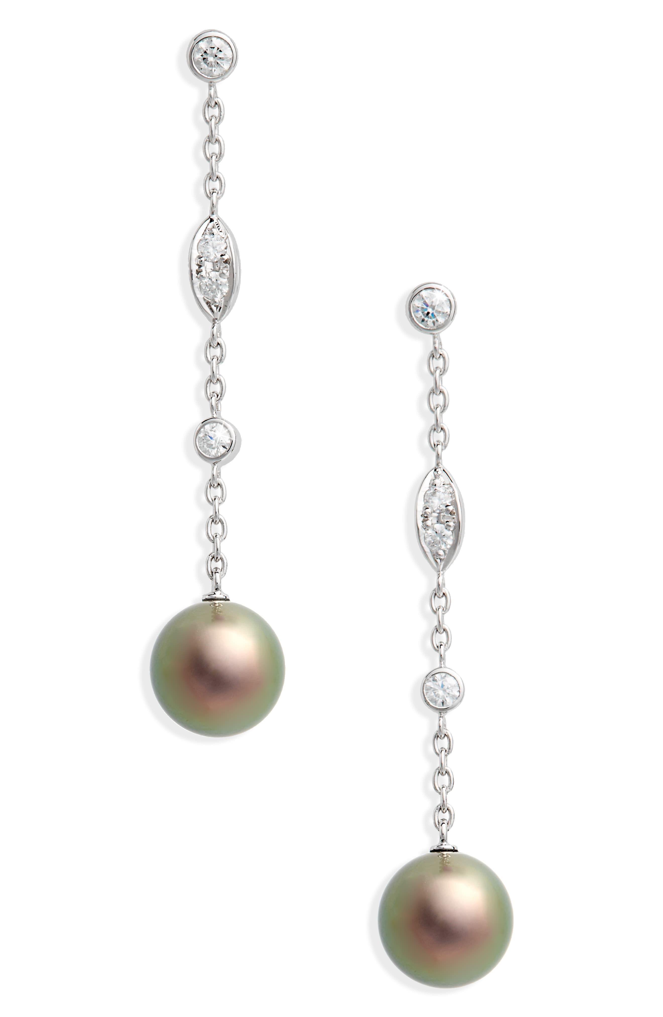 3c7145d2c Women's Mikimoto Black South Sea & Diamond Linear Drop Earrings in ...