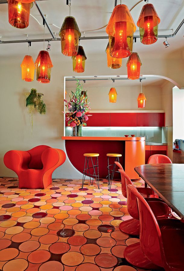 Fun and Funky throwback dining space! Checkout that floor!! #TileSensations