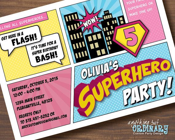 Supergirl Birthday Invitation Diy Superhero Comic Book Card In Pink
