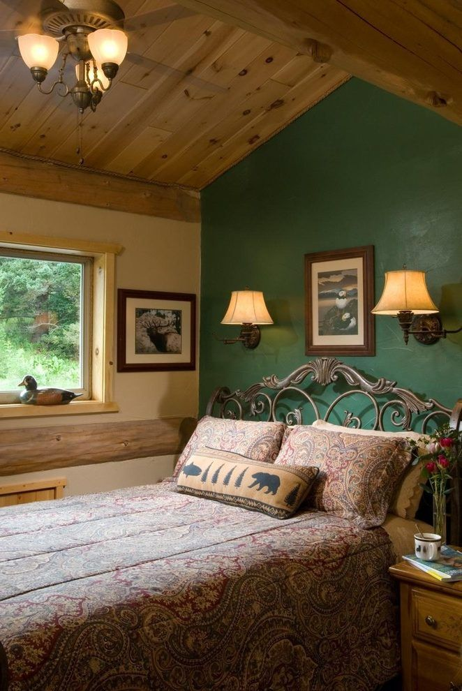Hunter Green Bedroom Rustic With Accent Wall Br Swing Arm Lamps
