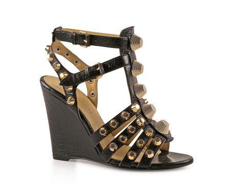 df61bc29286a Balenciaga black Leather high heels wedges sandals - LuxuryProductsOnline