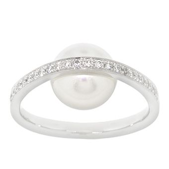 Freshwater cultured pearl ring with 1/6 carat total weight of diamonds, in 14K white gold. <br> <br> <i> Due to the unique nature of pearls, shade of color, shape or texture may vary slightly from photo. </i>