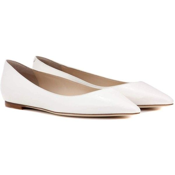 Jimmy Choo Romy Flat Patent Leather Ballerinas (€445) ❤ liked on Polyvore featuring shoes, flats, white, white flats, white ballet shoes, white ballerina flats, ballet shoes and ballerina shoes