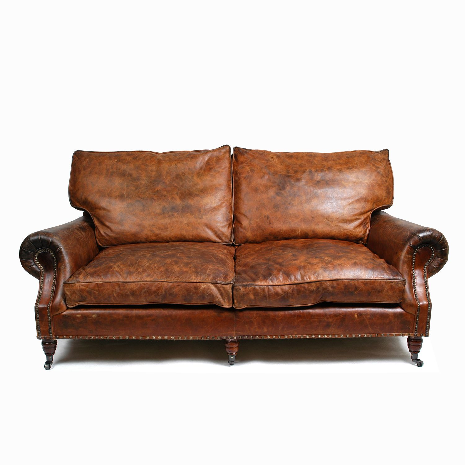 Balmoral 3 Seater Sofa - Cigar Material: Uncorrected Aniline Leather  Colour: Vintage Leather Cigar