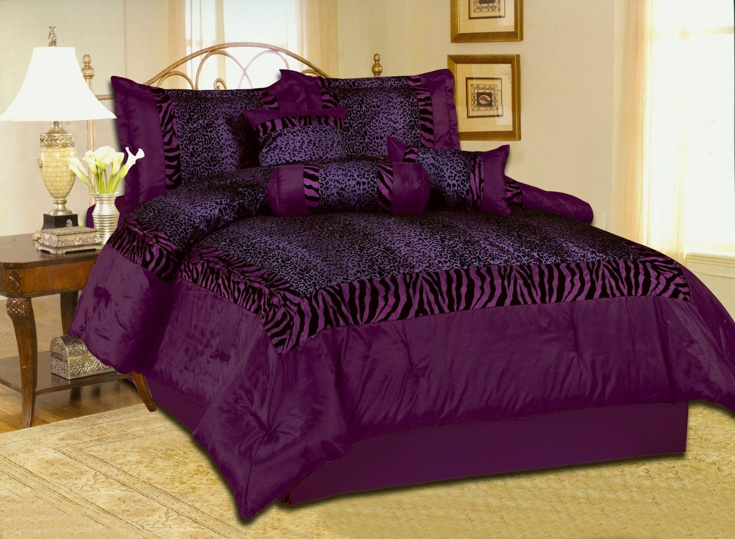 Queen Size Zebra Leopard Safari Patchwork Faux Silk Black Purple