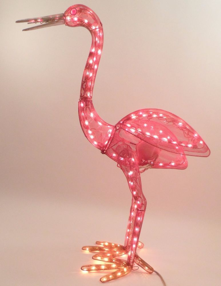 35 Animated Lighted Pink Flamingo Metal Yard Patio Tiki 400 x 300