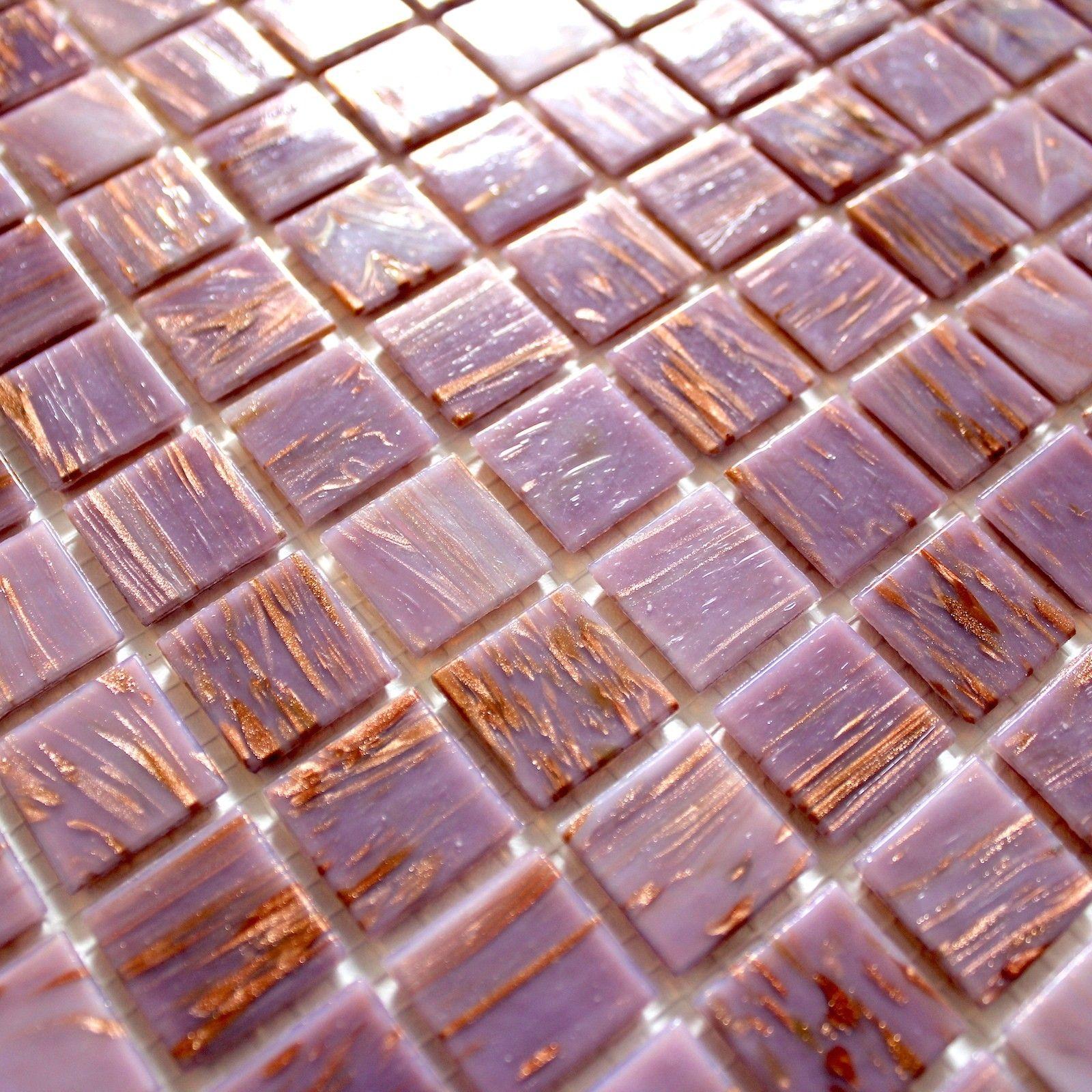 Mosaique Pate De Verre Douche Salle De Bain Vitro Rose Carrelage