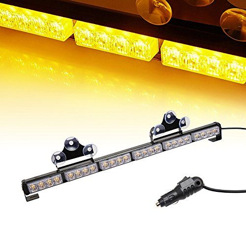 Ediors 27 inch high intensity 24 amberyellow led 13 flash modes ediors 27 inch high intensity 24 amberyellow led 13 flash modes traffic advisor emergency warning vehicle strobe light bar kit with exclusive large secure mozeypictures Image collections
