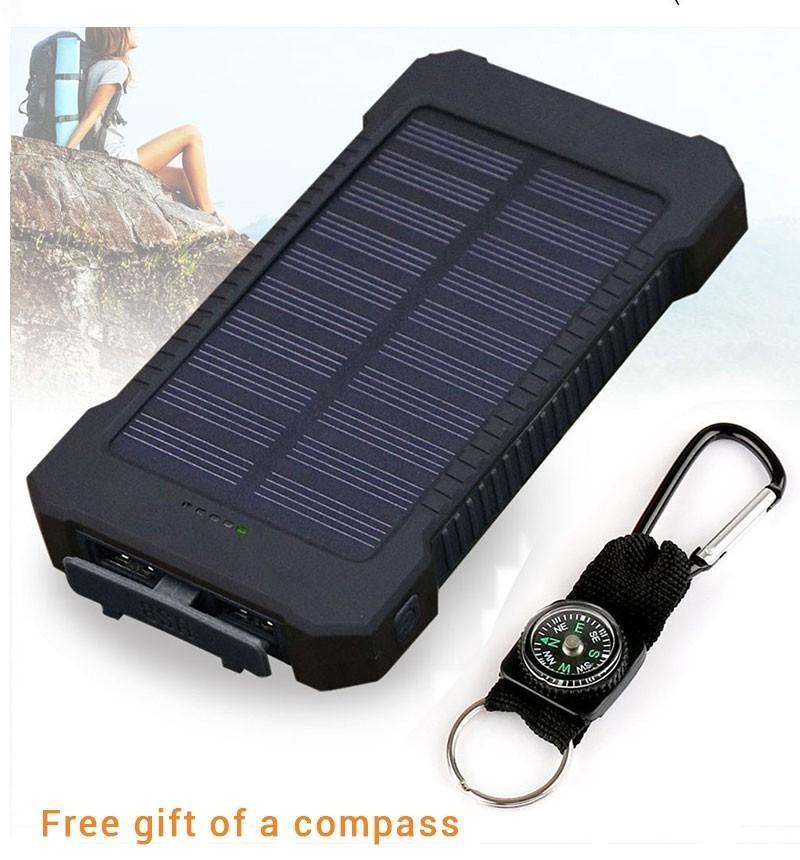 Description 20000mAh solarcharging USB power bank. This