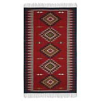 Zapotec wool rug, 'Red Diamond Path' (4x6.5). $375 aat Novica.com.  Exquisite detail and depth of colors for modern Southwest style. Use Dona Rosa pot, oak coffee table, antique oak chest-bench.
