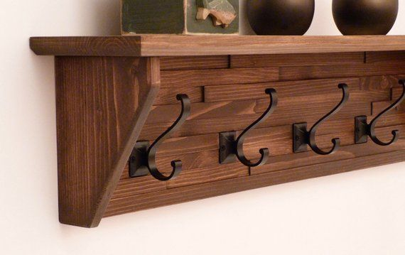 Modern And Rustic Entryway Coat Rack 34 Inches 5 Hooks Wall Etsy Coat Rack Wall Coat Rack Shelf Rustic Coat Rack