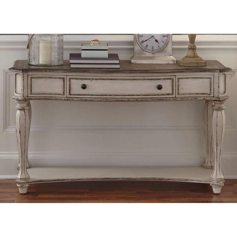 Fabulous Liberty Magnolia Manor Antique White Sofa Table Beige Off Ibusinesslaw Wood Chair Design Ideas Ibusinesslaworg