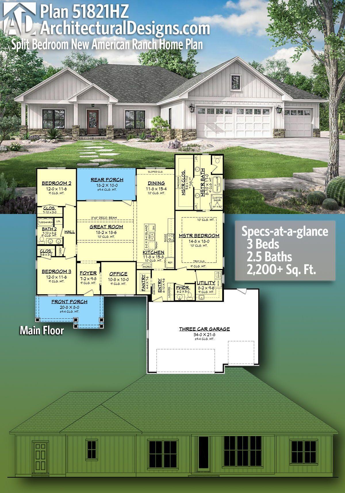 Plan 51821hz Split Bedroom New American Ranch Home Plan In 2020 Ranch House Plans New House Plans Craftsman House Plans