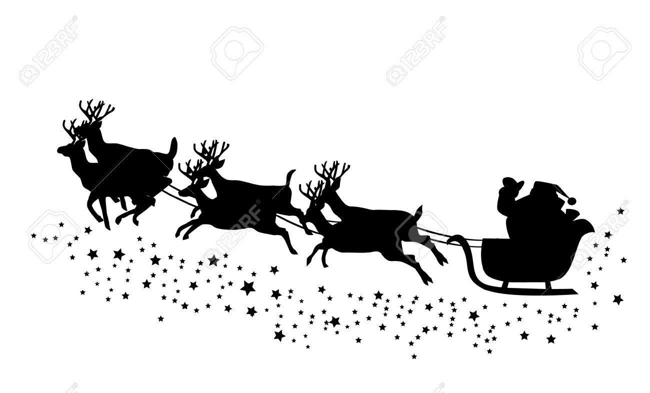 Santa Claus Flying With Deer Santa On His Sleigh Deer Vector Santa Claus