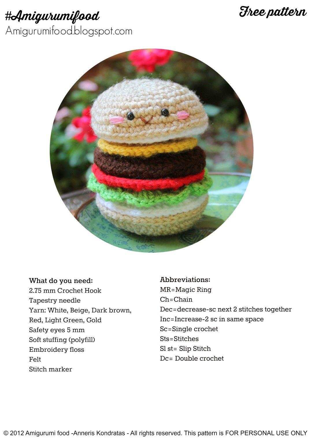 Amigurumi Food: Cheeseburger Amigurumi-Hamburguesa Amigurumi Food ...