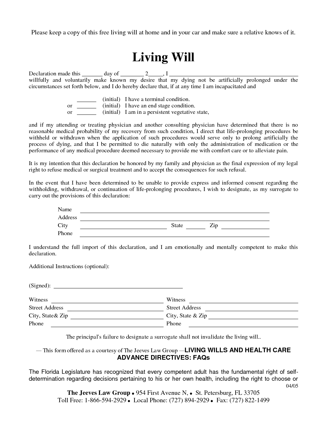Living Will Form >> Free Copy Of Living Will By Richard Cataman Living Will Sample