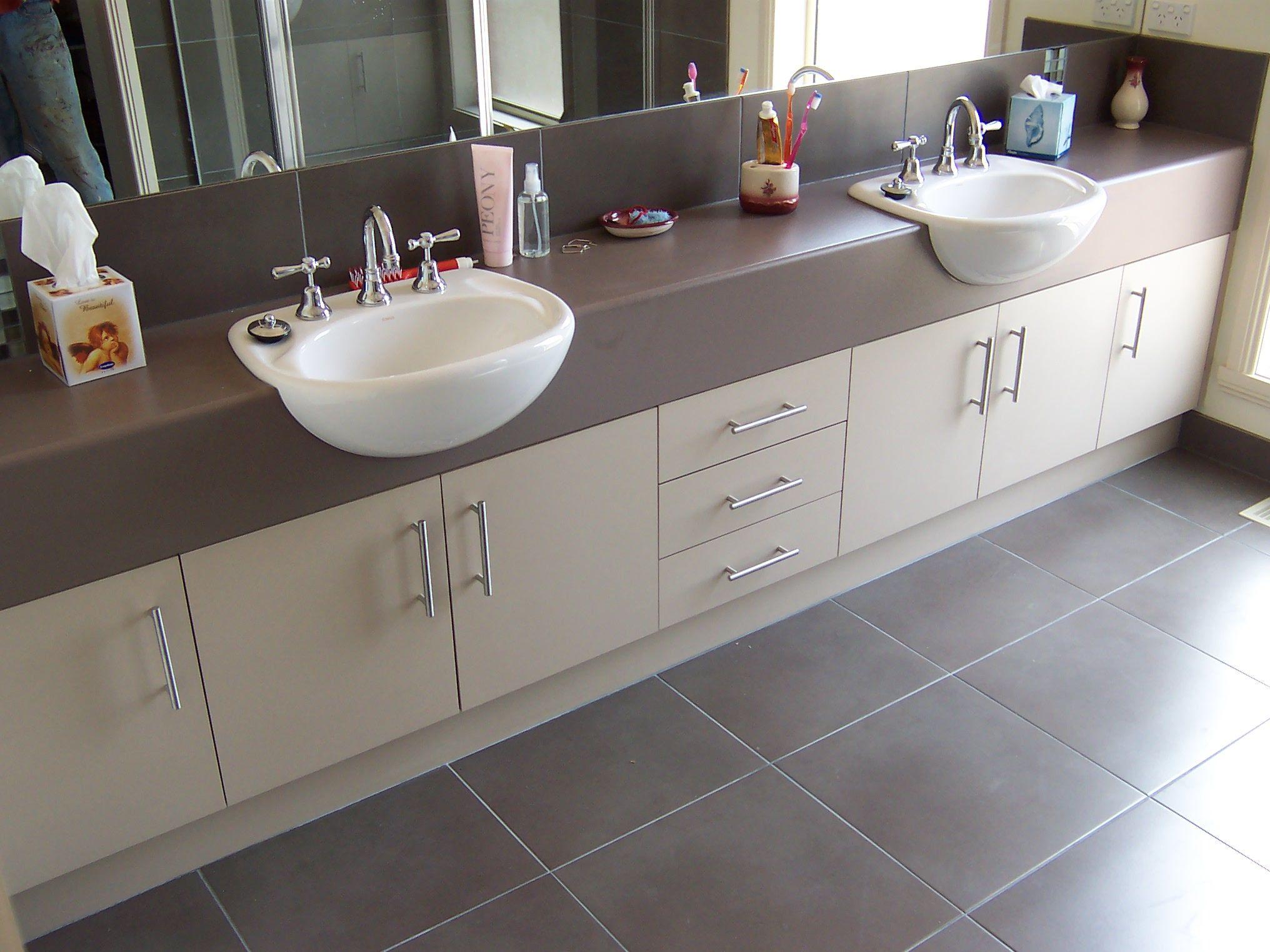 Ensuite vanity by bourke 39 s kitchens semi recessed basins - Semi custom bathroom vanity cabinets ...