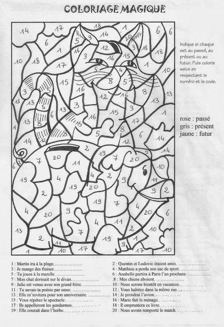 Coloriages magique grammaire et conjugaison imprimer et colorier ressources p dagogiques - Grammaire ce1 a imprimer ...