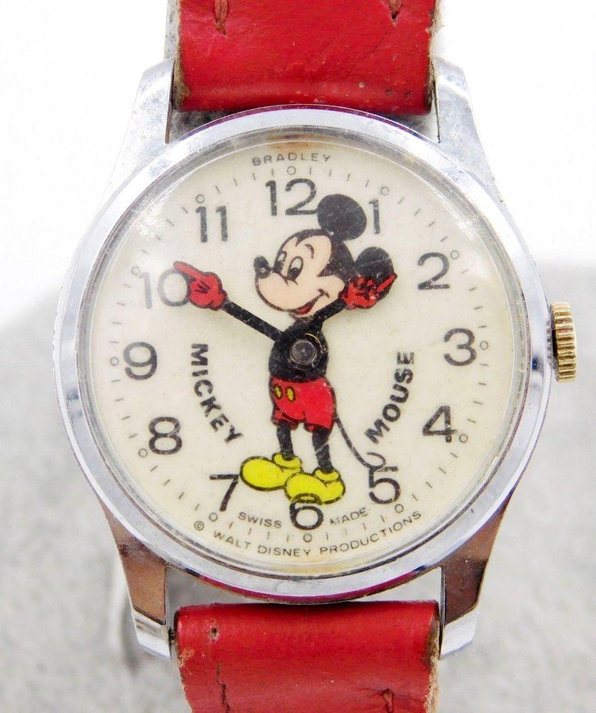 Vintage Bradley Mickey Mouse Watch Running Bradley