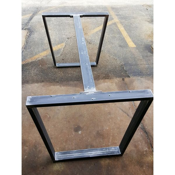 Trapezoid steel legs with 1 or 2 braces dining table for Mobilia kitchen table