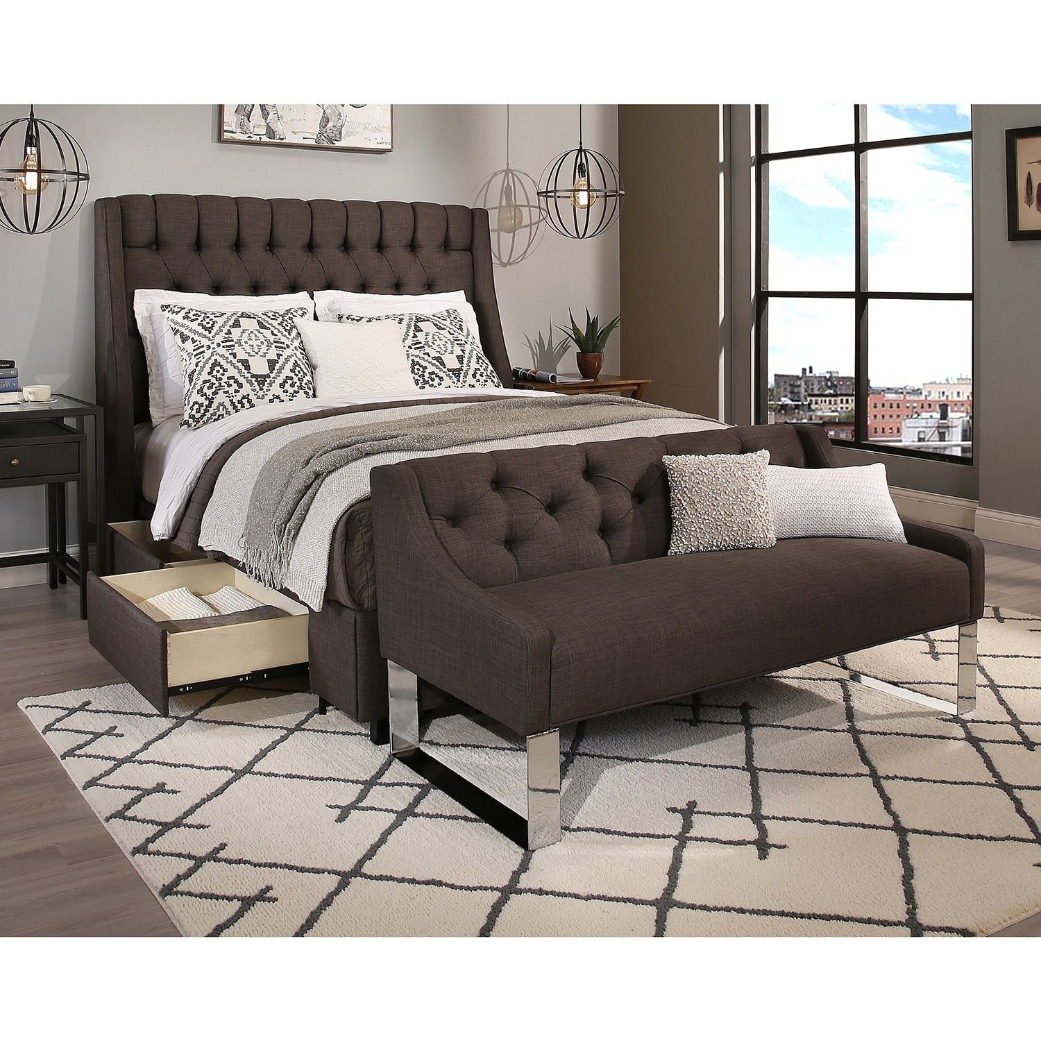 Republic Design House Cambridge Queen Size Tufted Headboard Storage Bed And Sofa Bench Set