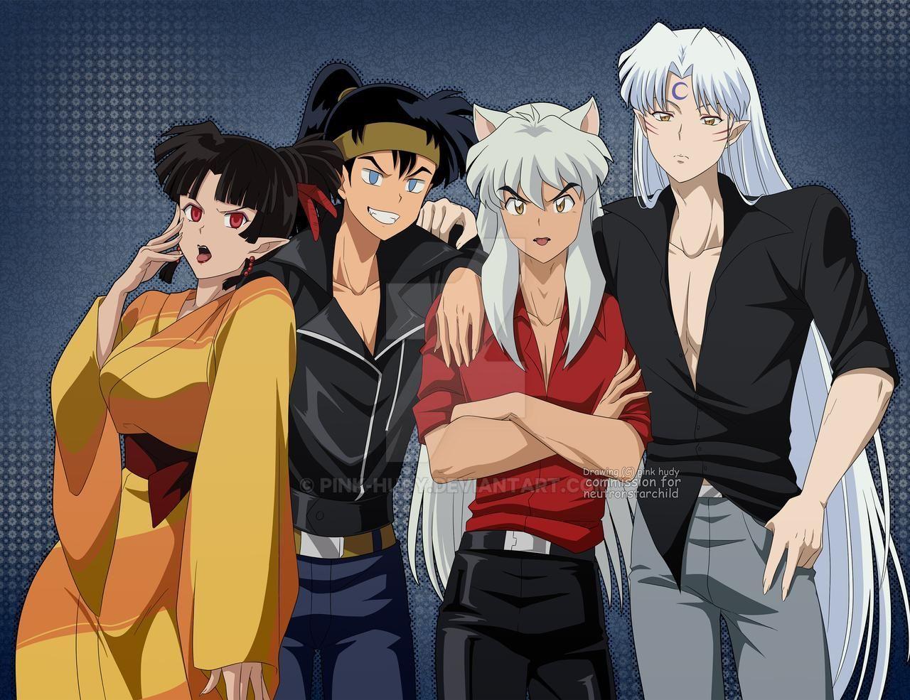 commission: Sesshoumaru ,inuyasha, Koga and Kagura by pink ...