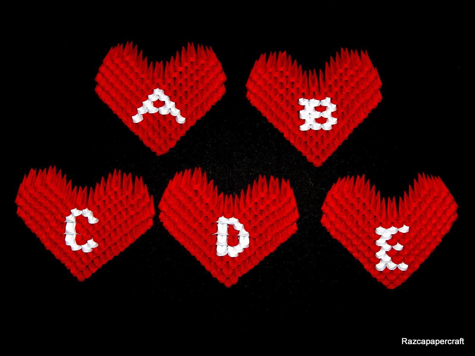 3d origami small heart tutorial ( letters A-E) | Origami ... - photo#37