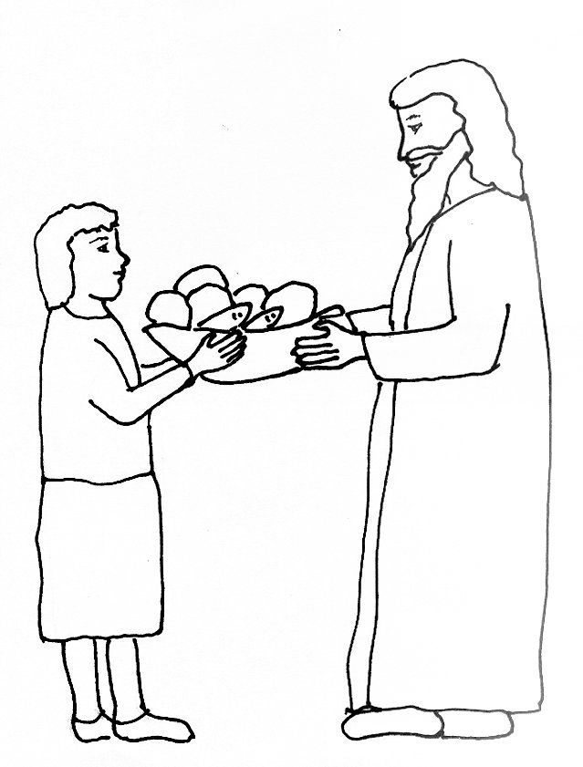Bible Story Coloring Page For The Feeding Of Five Thousand