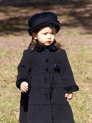 e08bf7a6d Sarah Louise Toddler Girls Navy Ruffle Trim Coat   Hat Size 4