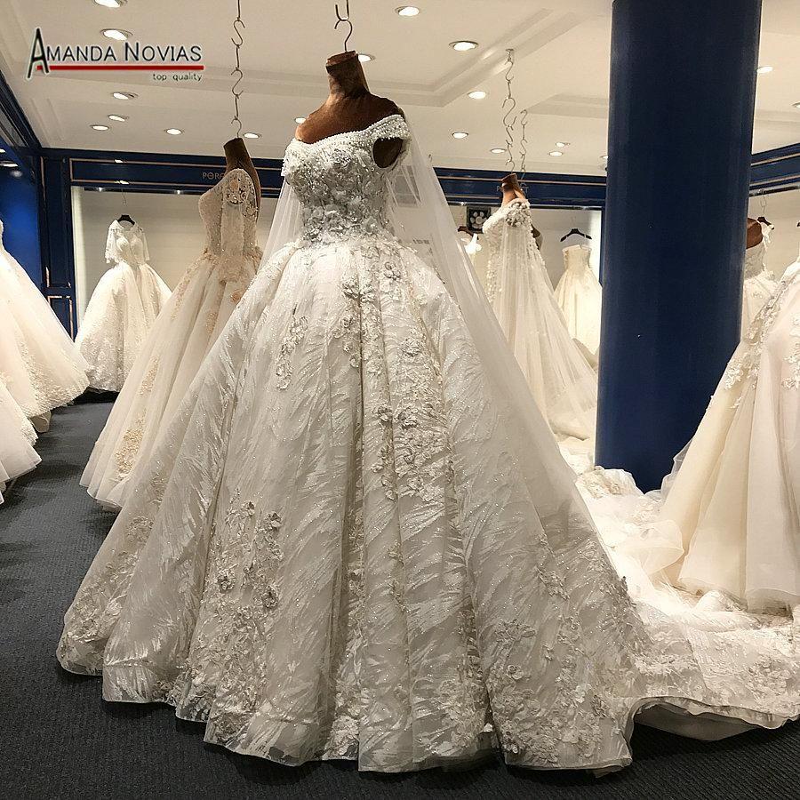 luxury wedding dress long train arabic shinny wedding bridal