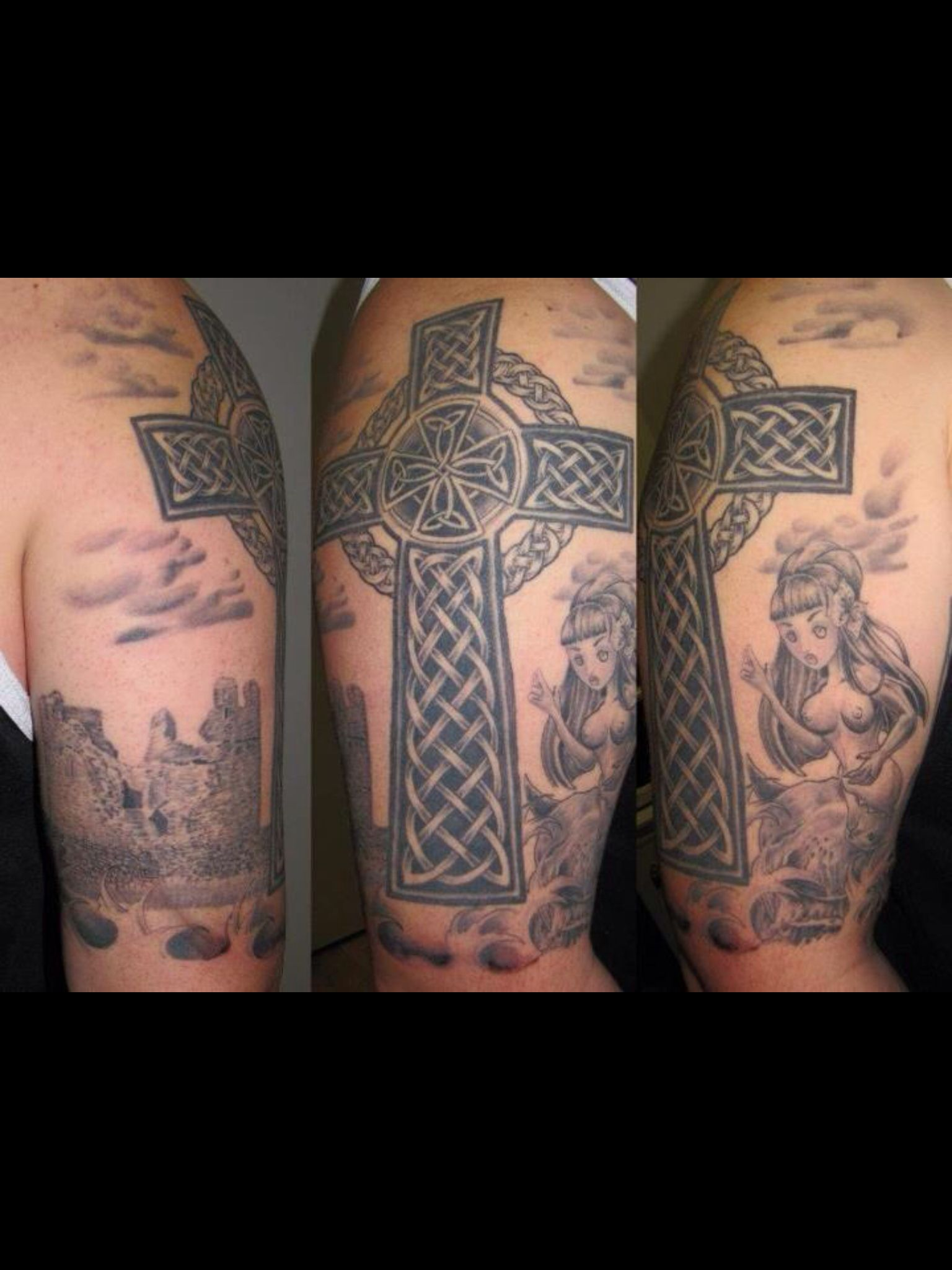 my celtic half sleeve tattoo with celtic cross selkie o 39 brien 39 s castle on inis o rr and family. Black Bedroom Furniture Sets. Home Design Ideas